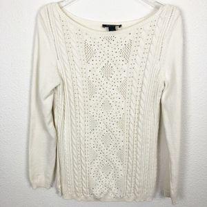 WHBM Ivory Cable Knit Rhinestone Sweater